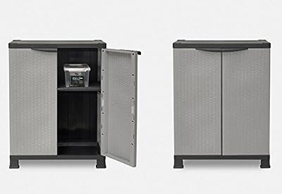 2 Stück Kunststoffschrank im Rattan-Design. Jeder Schrank mit einem höhenverstellbaren Einlegeboden und vier Füßen. Perfekt für Haushalt, Garten, Balkon oder auch Camping! Maße pro Schrank: 68 x 40 x 92 cm