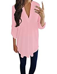 872308da04cbb4 Yvelands Frauen Damen Casual Chiffon Langarm V-Ausschnitt Shirt T-Shirt  Bluse