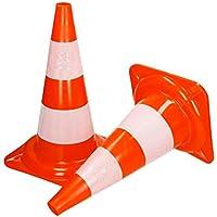 ECD Germany 10 Piezas Cono de tráfico señalización Color Naranja y Blanco 47cm de Altura en PVC