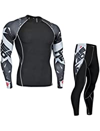 YiJee Herren Fitness Langarm-Kompressionsshirt Elastizität Sports Base Layer Hose