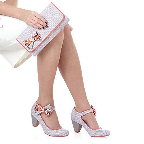 Ruby Shoo Mary Jane Chaussures à talon faible avec sac Barcelona Fuchsia rayé/gris Gris - Grey Stripe/Coral