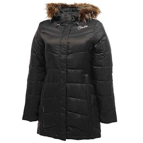 Dare 2b Ladies Play Down Fur Hood Parka Coat DWN015 Black Black
