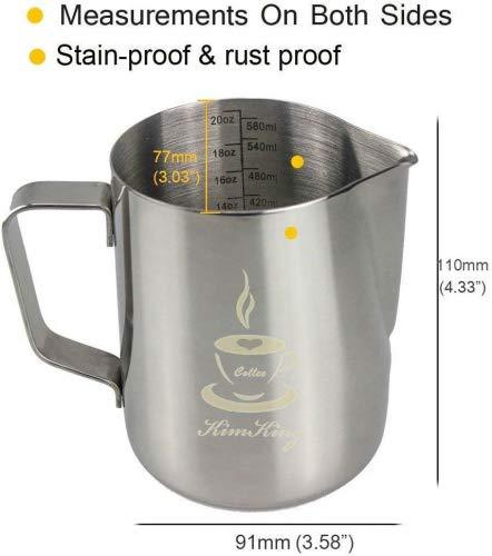 KimKing 600ml Bricco da latte Lattiera per cappuccino in Acciaio Inox Caffè Latte Art Bilance di misurazione di due lati