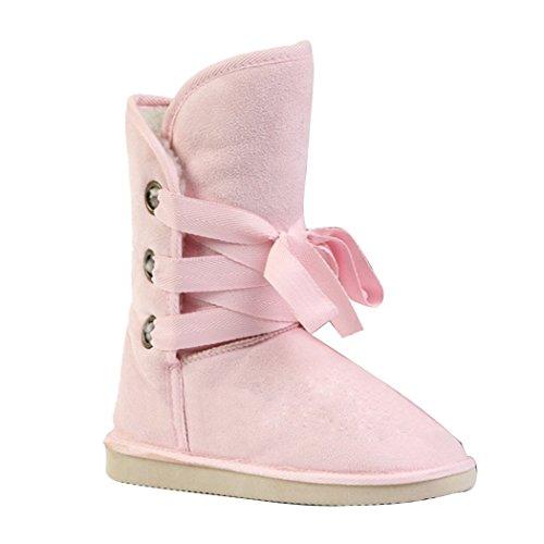 Minetom Donna Di Pelliccia Caldo Autunno Inverno Neve Stivali Pink