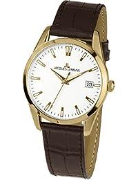 Jacques Lemans Unisex-Armbanduhr  Analog Quarz Leder 1-1769E