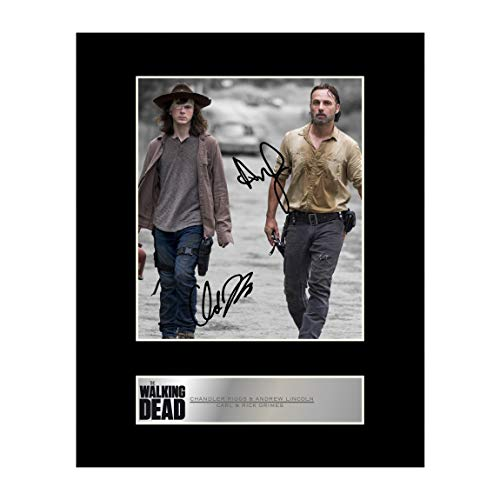CHANDLER Riggs & Andrew Lincoln, Carl Grimes & Rick Grimes Signiert Foto Display The Walking Dead # 1 -