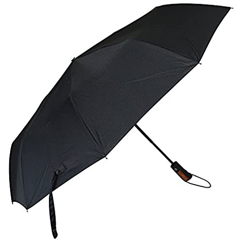 ZJKC® Fully Automatic 3 Fold Black Carved Umbrella with Wooden Handle Top Quality Men's Windproof Fold Rain Umbrella Wooden Straight Handle