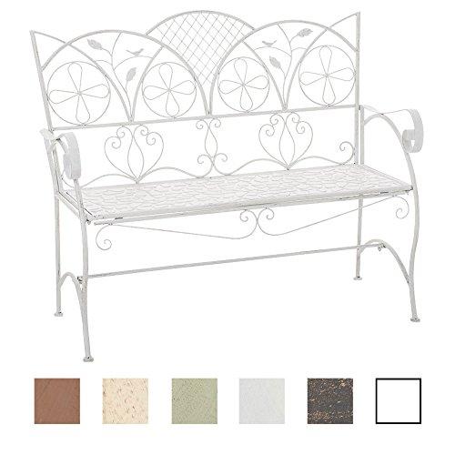 CLP Romantica panchina da giardino RIEF, rustica, in metallo laccato, 106 x 51 cm, fino a 6 colori a scelta bianco antico