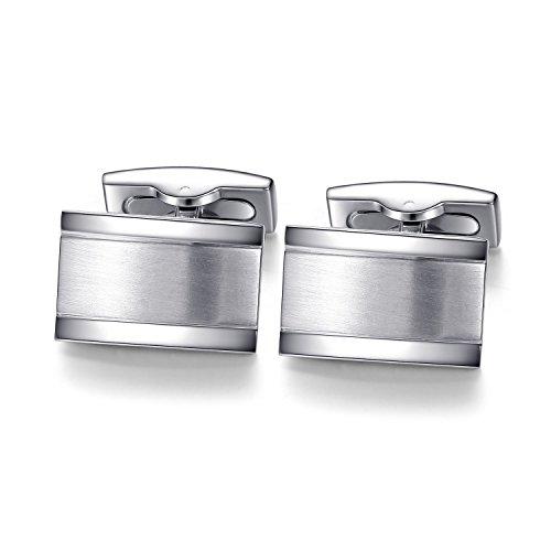 HONEY BEAR Herren Manschettenknöpfe Hochzeit Cufflinks Manschettenknopf Gebürstet-Silber Edelstahl (Silber)