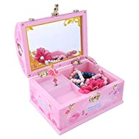 Hztyyier Makeup Mirror Music Box 6.1*4.5*4.3in Jewelry Storage Box with Ballerina Princess Music Box Gift