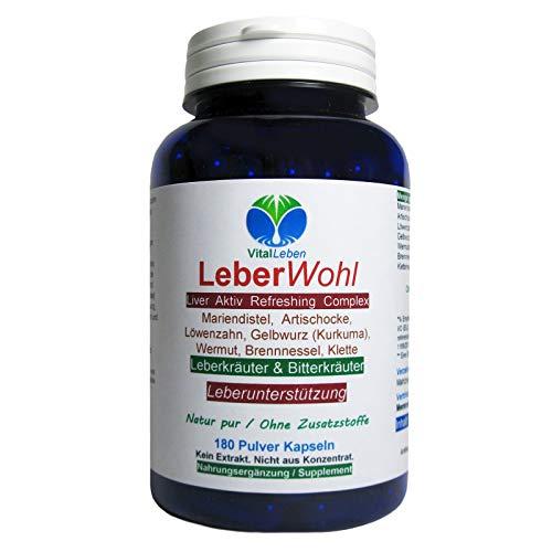 Leber Wohl 7 Leberkräuter & Bitterstoffe 180 Kräuter Kapseln Leber Liver Refreshing Leberunterstützung NATUR pur OHNE Zusatzstoffe. 26482-180 -