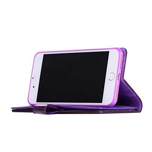haowe iwei per iPhone 7 Plus, Lusso Fashion Wallet Stand Case 9 in PU Pelle Protettiva Cover con chiusura a zip & Lanyard & Kick Stand haowe iwei Purple