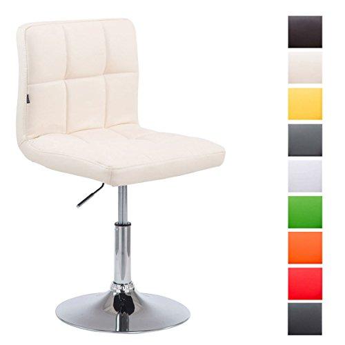 CLP Drehstuhl Palma V2 mit hochwertiger Polsterung und Kunstlederbezug I Höhenverstellbarer Esszimmerstuhl mit Metallgestell in Chrom-Optik Creme
