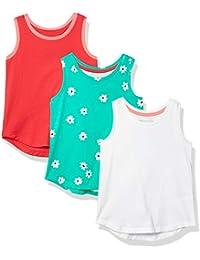 Amazon Essentials Camiseta de Tirantes para Niña (3 Unidades) Tank-Top-and-Cami-Shirts, Flor Verde/Rosa/Blanco, EU 104-110 CM