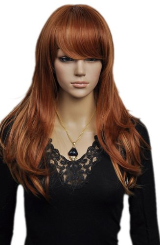Qiyun Longue Bright Brun Ondule Elegant Looking Resistant a la Chaleur Fibre Synthetique Cheveux Complete Cosplay Anime Costume Perruque