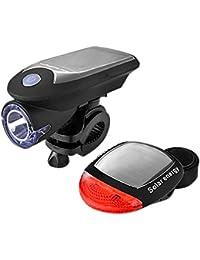 2019 Neueste USB Solar Fahrrad LED Set, USB wiederaufladbare Fahrrad Rücklicht, IP64 Wasserdicht, Geeignet zum Fischen, Jagen, Patrouillieren, Selbstverteidigen, Reiten (Schwarz)