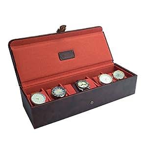 JACOB JONES Marron Boîte à montre avec doublure en tissu Orange