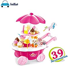 FunBlast® Ice Cream cart Pretend Play Toys, (Set of 39 Pcs) Ice Cream Kitchen Play cart Kitchen Set, Mini Candy Ice Cream Trolley Shop Pretend Play Set