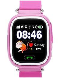 Reloj Inteligente para Niños con GPS, Reloj Inteligente para Niños con Rastreador GPS y Soporte SIM gsm con Pantalla Táctil, Llamadas de Emergencia, Rastreador de Actividad de Chat para Niños y Niñas