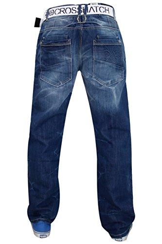 Nouveaux hommes Designer hachuré rigides Jeans Cotton Straight Fit Denim Belt gratuit Stone Wash