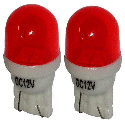 Aerzetix: 2x ampoule T10 W5W 12V 2LED SMD rouge éclairage intérieur plaque d'immatriculation seuils de porte plafonnier pieds lecteur de carte coffre compartiment moteur