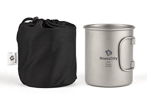 Titan Tasse (450ml/600ml) Camping Becher mit Maßeinteilung, extra stark Ultra Leicht (Ti), gesunde und umweltfreundliche Cup für Reisen/Camping in einfach Store Tuch Fall (450ml)