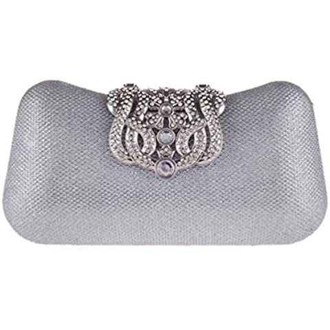 Moda Unico fibbia argento cristallo Diamante sera pochette borsa del partito di promenade nuziale (20 * 11 * 4cm) , silver