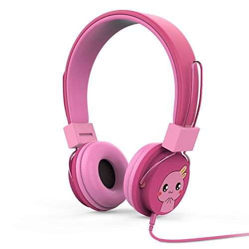 MoKo Kinder Kopfhörer - 1.5m / 4.9ft On-Ear-Kopfhörer Music Gaming Wired Leichtkopfhörer Headset Headphone mit Lautstärkenregler für IOS / Android Smartphones, Tablets, Computer, MP3 / 4 Players, Magenta