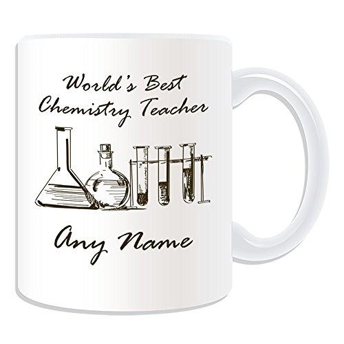 Personalisiertes Geschenk-World 's Best Chemie Lehrer/Fläschchen und Test Tubes Skizze, Tasse (Akademischer Design Thema, weiß)-Jede Nachricht/Name auf Ihr Einzigartiges-Schule College Universität -