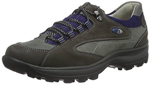 Waldläufer Holly Sneakers, Donna Multicolore (Denver Carbon Asphalt VELOUR atlantic Sport-Net Silber)