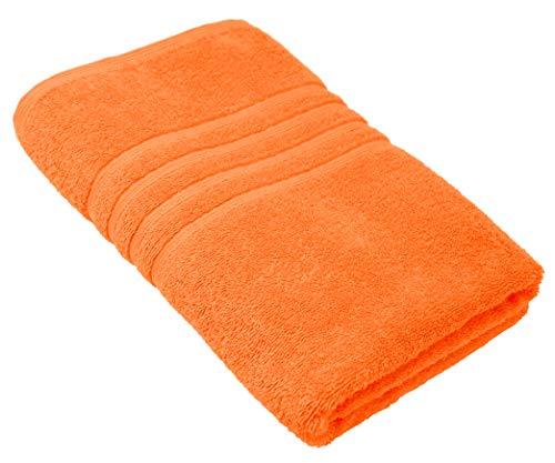 Lashuma Badetuch - Duschtuch aus Baumwolle | Handtuch Farbe: Clementinen Orange | Größe 70x140 cm | Serie London -