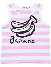 Balai bébé fille multi-color cotton rayé bananes d'impression rayé gilet T-shirt à col rond sans manche 0-4ans