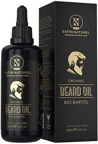 Der SIEGER 2018* - SatinNaturel MEN Bartöl Bio & Vegan 100ml - Doppelte Größe - Intensive Bartpflege - Bart Öl mit Einzigartigem Männlichen Duft in Lichtschutz Glasflasche - Made in Germany