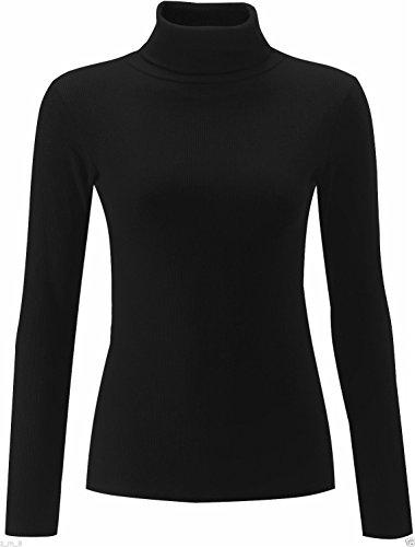 Polo in cotone, tinta unita, a coste da donna a collo alto, a maglia a tunica Nero  nero