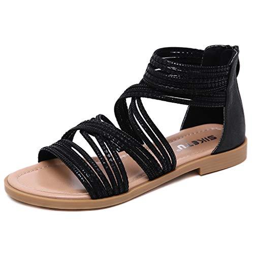 Vovotrade Damen retro große Größe Kreuzgürtel lässig flachen Boden Tasche römische Schuhe Sandalen Schwarz,Weiß 35-42 -