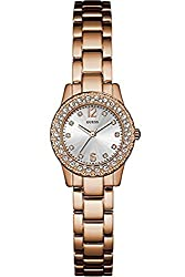 GUESS W0889L3,Ladies Dress,Stainless Steel,Rose Gold-Tone,Crystal Accented Bezel,30m WR