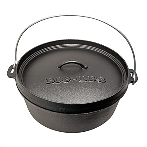 Big-BBQ DO 12.0 Dutch-Oven made of cast-iron   Pre-Seasoned 14' cast iron cooking pot   with lid lifter and lid stand   without legs