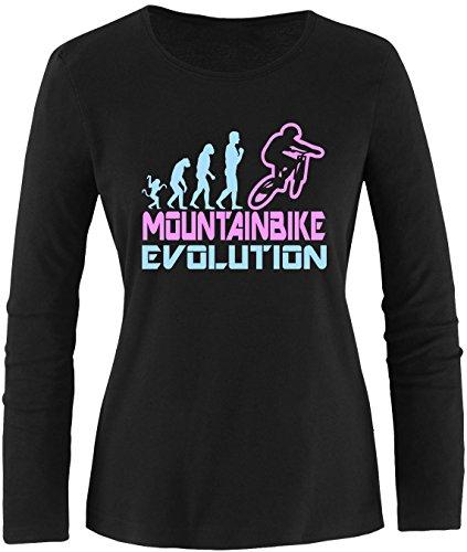 EZYshirt® Mountainbike Evolution Damen Longsleeve Schwarz/Hellbl/Rosa