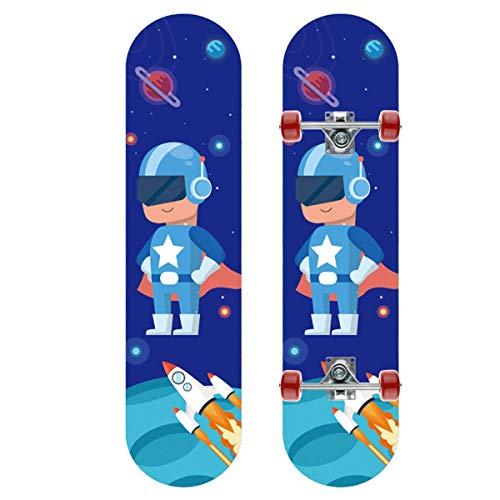 L&WB Komplettes Skateboard 31 Zoll, Skateboard Für Kinder/Jungen/Mädchen, Skateboard-Tricks Für Anfänger Und Profis, Double Soccer Skateboard Concave in Maple Wood 7 Layers,20