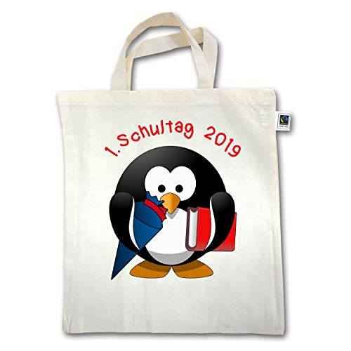 ng und Schulanfang - 1. Schultag 2019 Pinguin Schultüte Buch - Unisize - Natural - XT500 - Jutebeutel kurzer Henkel ()