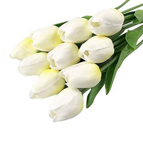 Rad-küken (Lazzboy 20 stücke Tulip Künstliche Blume Latex Echte Braut Hochzeit Bouquet Home Decor (F))
