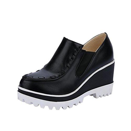 Mee Shoes Damen modern bequem Geschlossen Durchgängiges Plateau runde Blockabsatz Plateau Pumps Freizeitschuhe Schwarz
