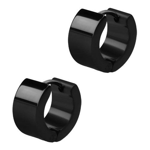 Breite Schwarze Edelstahl Creolen Ohrringe. Klapp-Creolen für Damen und Herren 13mm Durchmesser - 7mm breit (2 Stück / 1 Paar)