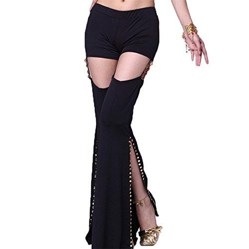 Damens Bauchtanz Hose Stammes-Glocke Boden Hose Diamant Seite Schlitz Tanzen tragen Elastisch (Bauchtanz Kostüm Hose Cotton Tribal Yoga)