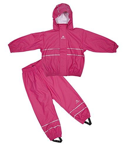 Elka Regenanzug Regenhose + Regenjacke für Kinder, gestreift und einfärbig Farben viele Größen 220g/Polyester (104, Rose)