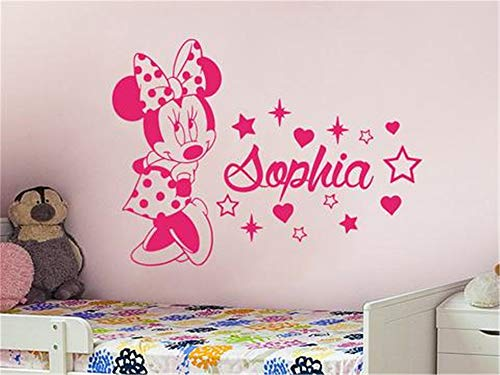 mer Mickey Minnie Mouse Wall Art Decal Sticker Art Wall Mural Cute Minnie Mouse With Custom Personalized Baby Name Vinyl Wall Sticker For Baby ()