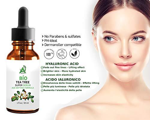 Der SIEGER 2019* serum gesicht BIO Hyaluronsäure Serum Vegan & Hochkonzentriert. mit 20% Vitamin C + Vitamin E + retinol + tea tree. Natürliche Anti Aging + Anti Falten + anti flecken +FEUCHTIGKEIT