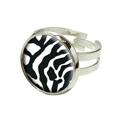 (Zebra Print–Schwarz Weiß–Silber Versilbert verstellbar Neuheit Ring)
