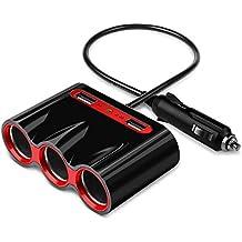Cargador de Coche Adaptador,Hunda 120W 12V/24V 3 Encendedor de Cigarrillos Coche y 3.4A 2 Puertos USB para Cargar iPhone iPad Samsung Teléfono Móvil Tablets GPS y Más(Negro)