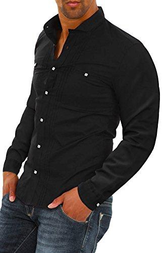 Carisma Herren Langarmhemd Freizeithemd Elegant Business Hemd Black